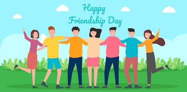 Glückliche freundschaftstagesgrußkarte mit der verschiedenen freundgruppe von personen, die zusammen für feier des besonderen anlasses umarmt