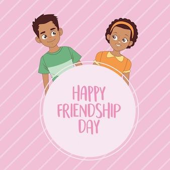 Glückliche freundschaftstagfeier mit afro-kinderpaar