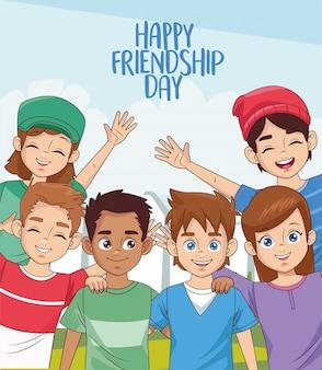 Glückliche freundschaftstagfeier mit gruppe von kindern