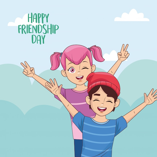 Glückliche freundschaftstagfeier mit kinderpaar