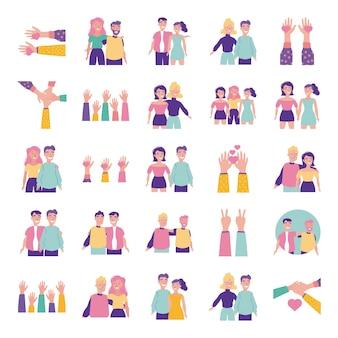 Glückliche freundschaftstagfeier mit leuten und ikonen eingestellt