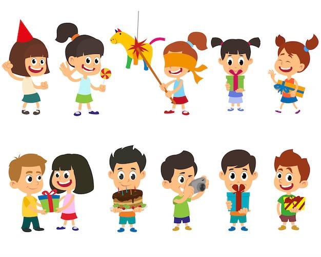 Glückliche fröhliche kinder, die spaß an einer geburtstagsfeier haben.