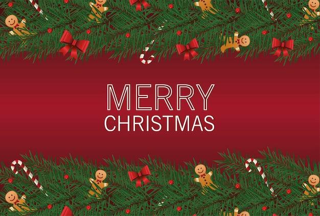 Glückliche frohe weihnachten-beschriftungskarte mit bögen und ingwermann in blattrahmenillustration