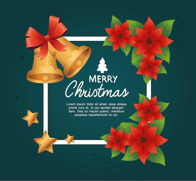 Glückliche frohe weihnachten-beschriftungskarte mit glocken und sternen im blumenrahmenillustrationsdesign