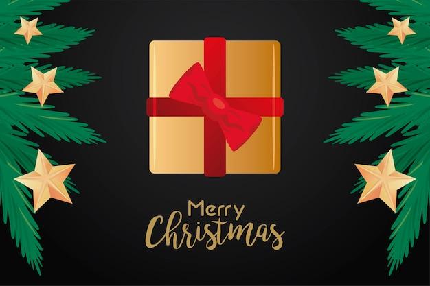 Glückliche frohe weihnachten-beschriftungskarte mit goldenem geschenk und tannenzweigillustration