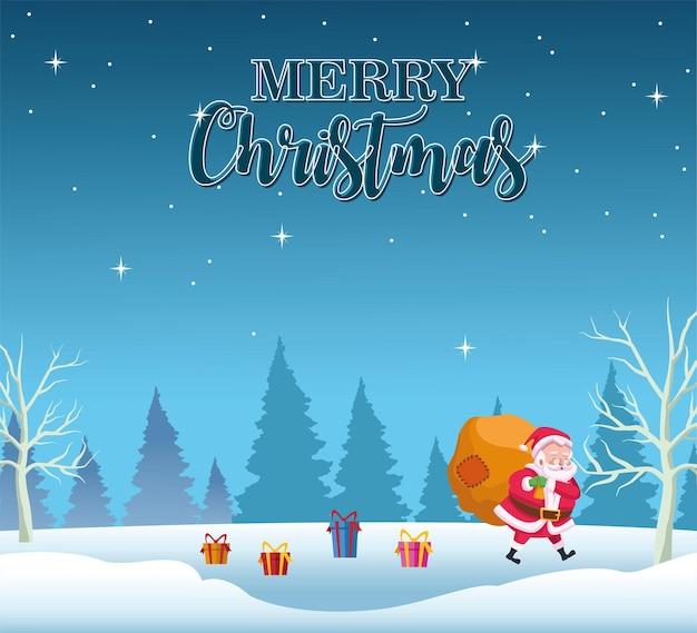 Glückliche frohe weihnachten-beschriftungskarte mit weihnachtslift-geschenkbeutelillustration