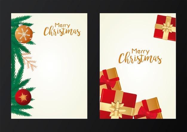 Glückliche frohe weihnachten-beschriftungskarten mit geschenken und zweigenillustration