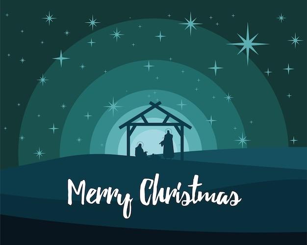 Glückliche frohe weihnachtsbeschriftung mit heiliger familie im stabilen silhouettenvektorillustrationsentwurf