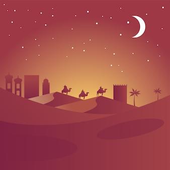 Glückliche frohe weihnachtskarte mit biblischen magiern in kamelsilhouetten wüstenszenevektorillustration