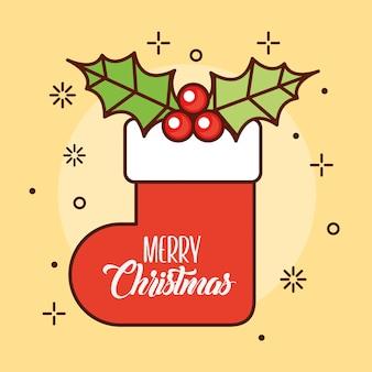 Glückliche frohe weihnachtskarte mit sockenillustrationsentwurf