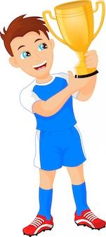Glückliche fußballmeister mit siegerpokal