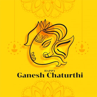 Glückliche ganesh chaturthi festivalkarte in der gelben farbe