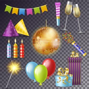 Glückliche geburtsfeier der geburtstagsfeiervektorkarikatur mit geschenken oder ballonen auf dem jahrestagssatz der discokugel oder der kerze und der wunderkerzeillustration des neuen jahres lokalisiert