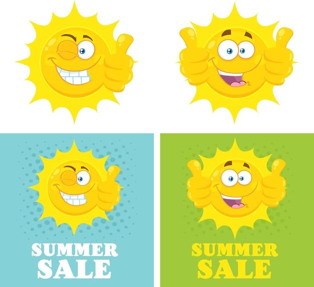 Glückliche gelbe sonne cartoon emoji gesicht charakter aufgeben daumen flach mit halbton und text sommerangebot