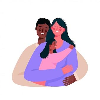 Glückliche gemischtrassige familie. afroamerikaner vater, mutter und tochter zusammen