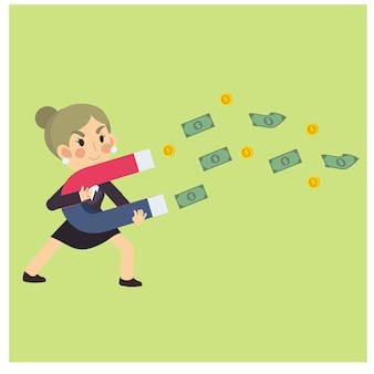 Glückliche geschäftsfrau / büroangestellter, die geld mit magneten sammelt. geschäftszeichentrickfilm-figur-vektor.
