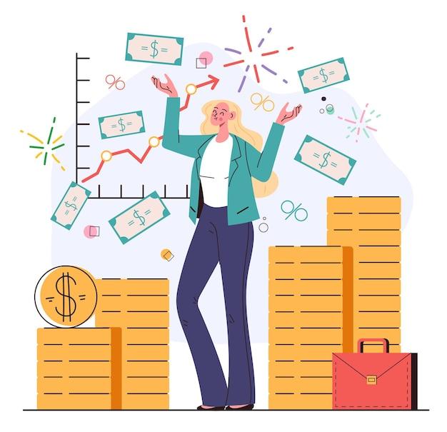 Glückliche geschäftsfrau charakter finanzberater, der unter geldmünzen steht, regen erfolgreicher investor unternehmer mentor trainer finanzberatung konzept vektor flache cartoon-grafik