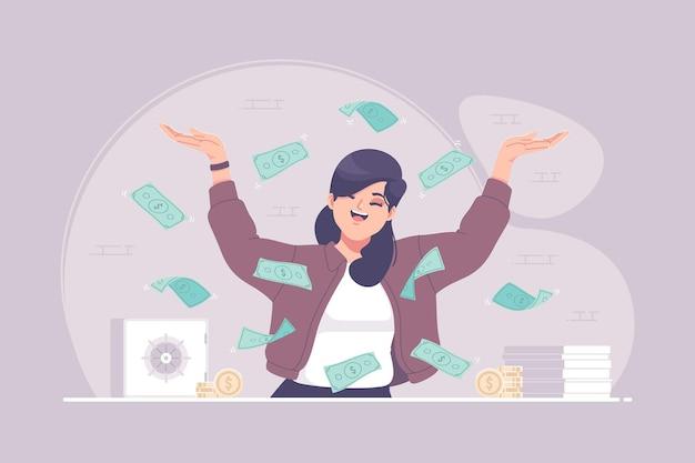 Glückliche geschäftsfrau in geldregenillustration