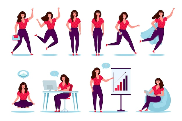 Glückliche geschäftsfrau, weiblicher charakter, weiblicher manager der büroangestellten in verschiedenen posen und situationen. im cartoon-stil. superheld, meditieren, arbeiten, springen, laufen.