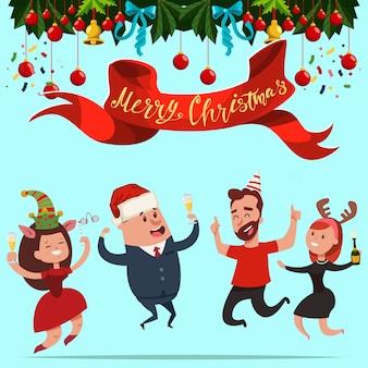 Glückliche geschäftsleute in einem santa claus-hut und in neujahrskostümen springen. vektorkarikatur weihnachtsbüro-partyillustration.