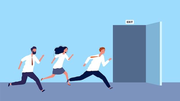 Glückliche geschäftsleute rennen zum ausstieg. das wochenende begann, der arbeitstag endete.