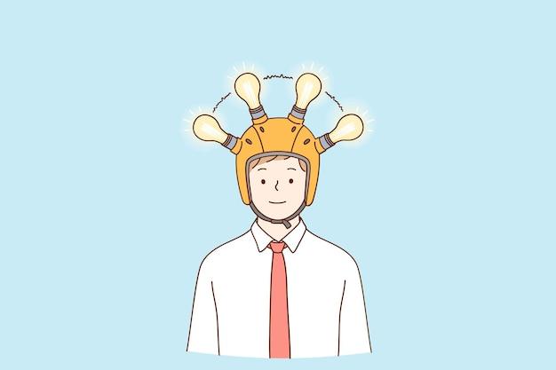 Glückliche geschäftsmannkarikaturfigur, die im helm mit signierlampen steht