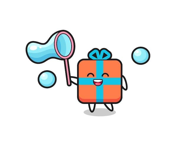 Glückliche geschenkbox-karikatur, die seifenblase spielt, niedliches design für t-shirt, aufkleber, logo-element