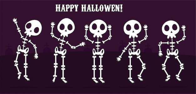 Glückliche gesetzte skelette halloweens, knochiger charakter des karikaturskelettvektors