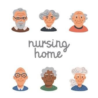 Glückliche gesichter älterer menschen - pflegeheim
