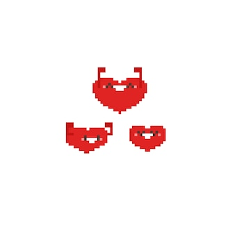Glückliche gesunde herzkarikatur des pixels
