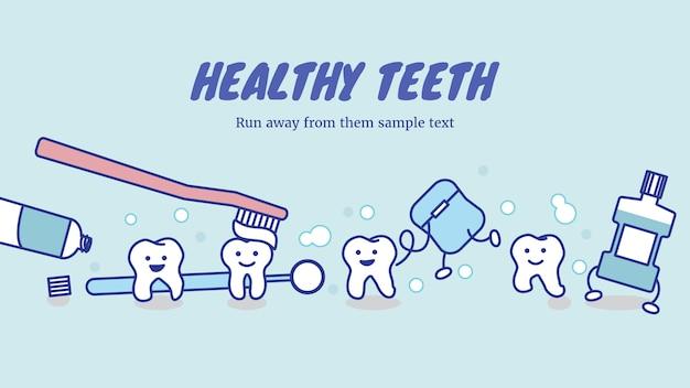 Glückliche gesunde zähne und zahnpflegeausrüstung
