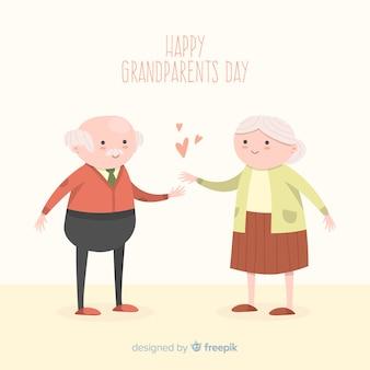 Glückliche gezeichnete art des großeltern-tageshintergrundes in der hand
