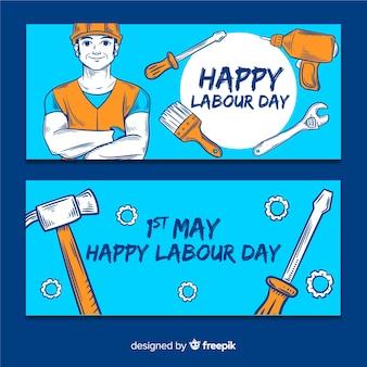 Glückliche gezeichnete fahne des arbeitstages hand für netz und social media