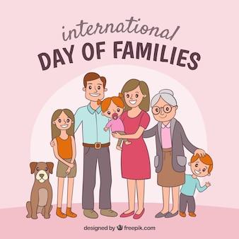 Glückliche gezeichneter art des familientages in der hand