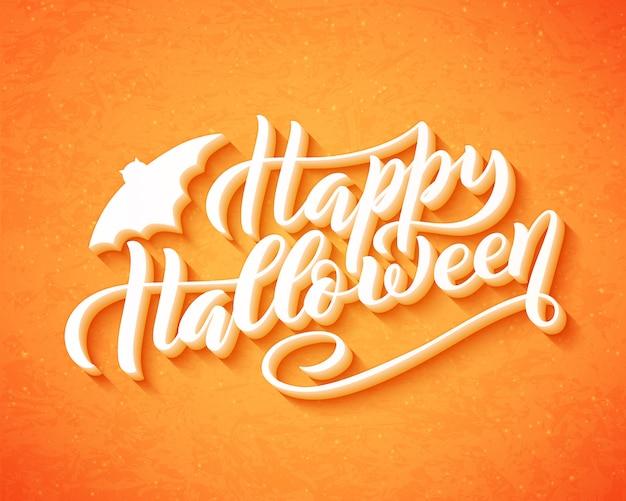 Glückliche gezeichnetes kreatives kalligraphiedesign halloweens hand für feiertagsgrußkarte und flieger, poster, fahne.