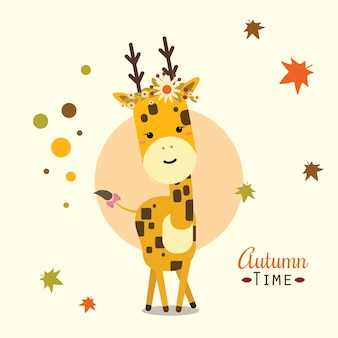 Glückliche giraffe im herbst