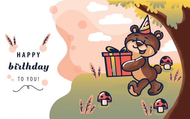 Glückliche glückwunschkarteschablone mit dem braunbären, der ein geschenk oder ein geschenk in der waldszene gibt. vektor-illustration