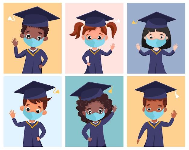 Glückliche graduierte kinder, die das medizinische kleid und die kappe der medizinischen masken tragen. multikulturelle kinder, die gemeinsam den kindergartenabschluss feiern