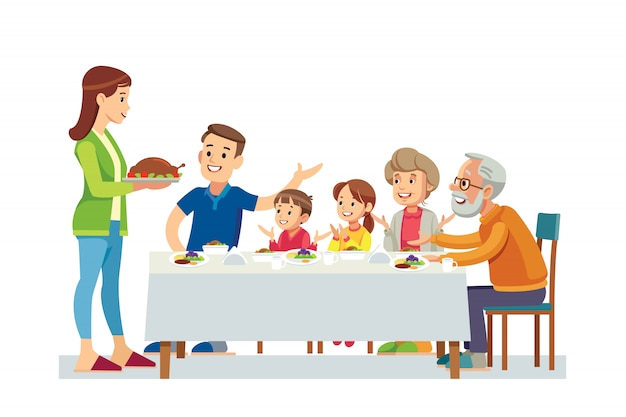 Glückliche große familie, die zusammen abendessen isst