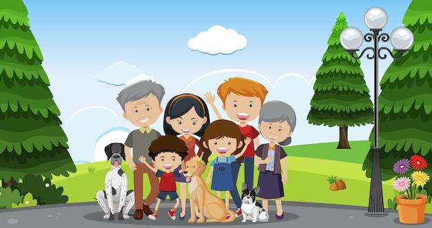Glückliche große familie mit vielen mitgliedern und ihrem haustierhund auf parkhintergrund