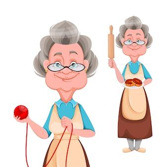 Glückliche großeltern setzen verschiedene posen