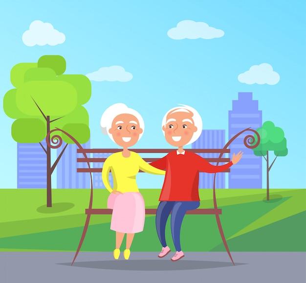 Glückliche großeltern-tagesältere paare auf bank