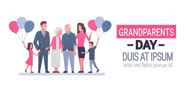 Glückliche großeltern-tagesgruß-karten-fahnen-große familie zusammen