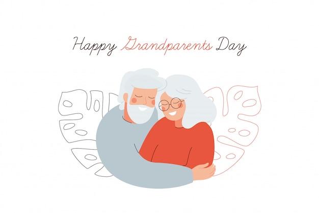 Glückliche großeltern-tagesgrußkarte. ältere menschen umarmen sich mit liebe.