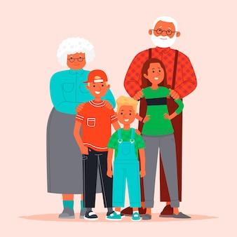 Glückliche großeltern und enkelkinder. großmutter und großvater mit kindern.