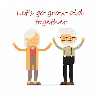 Glückliche großeltern vector karikaturillustration für design, glücklichen valentinsgrußtag.