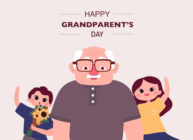 Glückliche großelterntag-grußkarte. großvater und enkelkinder mit blumenstraußillustration