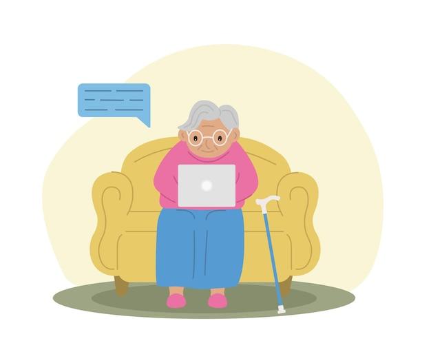 Glückliche großmutter mit laptop-technologie und ältere menschen