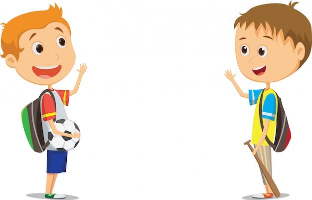 Glückliche grundschulkinder, die nach der schule wellenartig bewegen