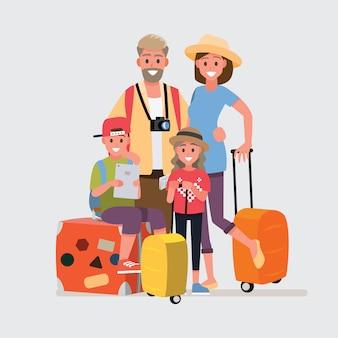 Glückliche gruppe des familienreisenden